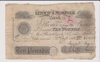 1885 £10 Lynn R's & Norfolk bank. Fine Signed Weston Jarvis
