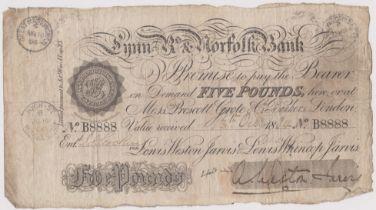 1884 £5 Lynn R's & Norfolk bank (Weston Jarvis) Great Massingham date stamp. Fine