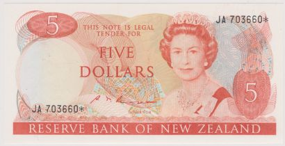 New Zealand 1985-89 Reserve Bank Five Dollars, Orange, Russell P171b, AUNC