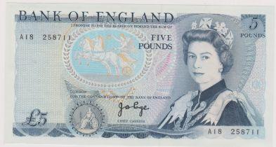 1971 £5 JB Page, prefix A18, BE 108B AUNC