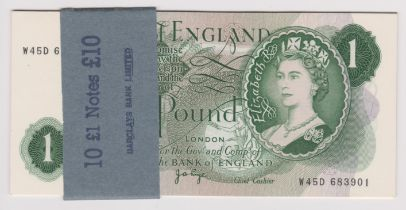 1970 £1 J B Page, serial W45D, BE 78c, run of consecutive UNC