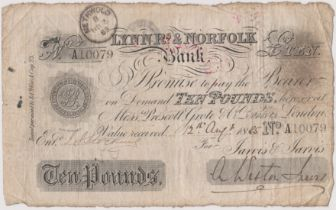 1885 £10 Lynn R's & Norfolk bank (Weston Jarvis) Methwold date stamp. Fine