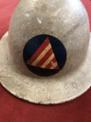 American Civil Defence Air Raid Warden Helmet, c. 1942-1945. This metal helmet is round in shape and