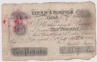 1885 £10 Lynn R's & Norfolk bank (Weston Jarvis) Wisbech Pro Bank of England backstamped