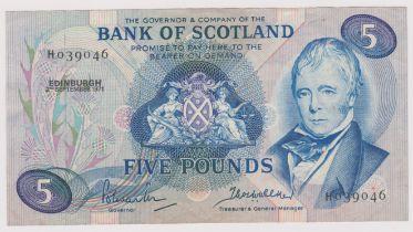 Bank of Scotland £5, 2 Sept 1971 Prefix H, SC 121a GEF