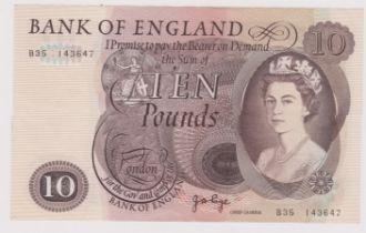 1971 £10 Brown, JB Page, B326, BE 155C prefix B35, EVF