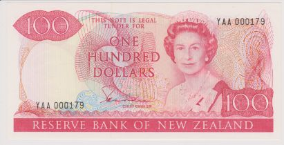 New Zealand 1981-85 Reserve Bank One Hundred Dollars, YAA, Red, Hardie Chief Cashier, AUNC P175a
