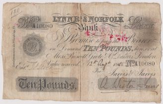 1885 £10 Lynn R's & Norfolk bank (Weston Jarvis) taped at centre. Fine