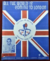 1951 Festival of Britain - All the world is coming to London Souvenir Song Copy, published