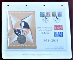 2001 50th Anniversary of the Festival of Britain - First Day Cover with 1951 Crown and issued stamps