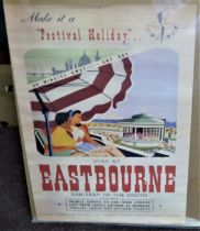 """1951 Festival of Britain Festival Holiday Poster 23""""x16"""" approx., ''Stay at Eastbourne'' Festival"""