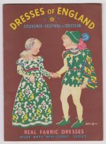 """1951 Festival of Britain - Dresses of England Real Fabric Dresses Souvenir by Muse Arts """"New Fabric"""""""
