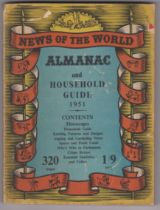 1951 News of the World Almanac and Household Guide, good