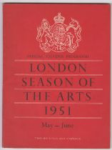 1951 London Season of the Arts Official Souvenir Programme, published for the Arts Council of