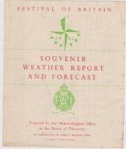 1951 Festival of Britain - Souvenir Weather Report and Forecast prepared at the Dome of Discovery,