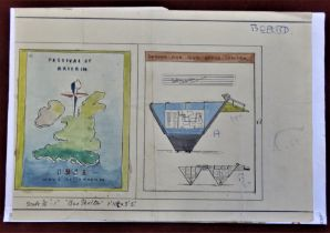 1951 Festival of Britain - A watercolour draft design of the Festival Bus Shelter - Transport