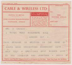 1951 Festival of Britain Cable & Wireless Telegram Souvenir Message via Imperial