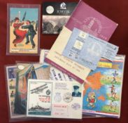 A mixed lot of items including a Suffragette Postcard, a repro Jorvik coin, World Cup Willie