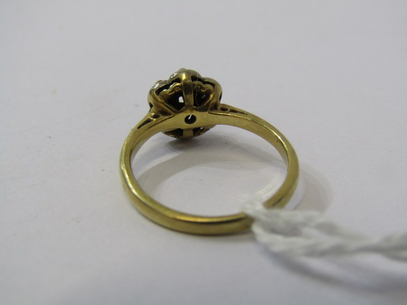 18ct YELLOW GOLD SAPPHIRE & DIAMOND CLUSTER RING, size J/K - Image 3 of 3