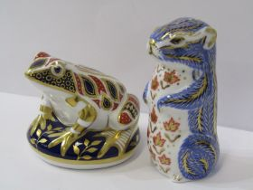 """ROYAL CROWN DERBY PAPERWEIGHTS, """"Chipmonk"""" and """"Frog"""""""