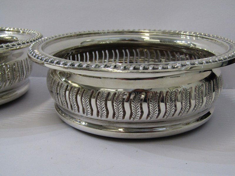 SILVER DECANTER COASTERS, pair of silver and stained beech frame decanter coasters of circular form, - Image 2 of 2