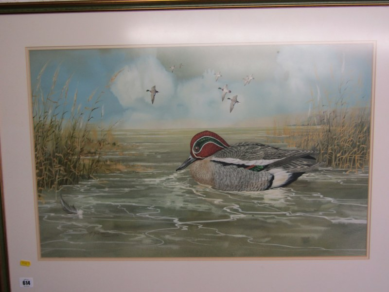 """M. YULE, signed watercolour dated 1974, """"Teal Mallard, Pintail"""", 18"""" x 28"""""""