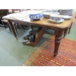 """EDWARDIAN MAHOGANY EXTENDING TABLE, D-end with tapering fluted legs with castors, 41"""" width 59"""""""