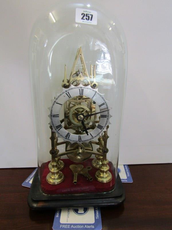 """SKELETON CLOCK, glass domed brass skeleton clock, 11"""" height"""