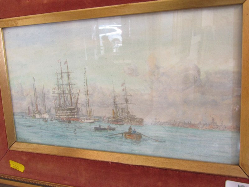 """W. L. WYLLIE, chromolithograph, """" Busy Shipping Scene"""" 5.5"""" x 10"""" - Image 2 of 2"""