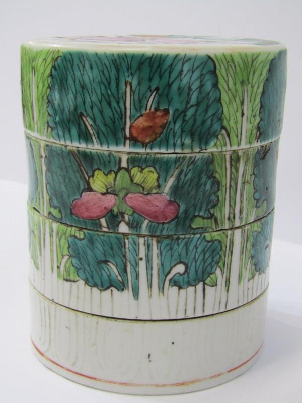 """ORIENTAL CERAMICS, Famille Verte 4 tier cylindrical stacking jar decorated with children playing, 4"""" - Image 4 of 6"""