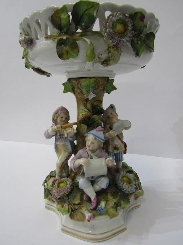 CONTINENTAL PORCELAIN, Thuringian-style figure based comport, floral encrusted with child musician
