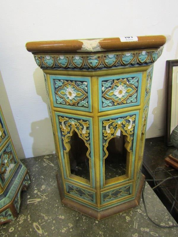 "MAJOLICA GARDEN SEATS, 2 Minton-style Persian design octagonal garden seats, 1 25"" height, other - Image 4 of 7"