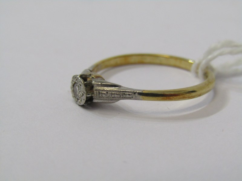SOLITAIRE RING, 18ct yellow gold and platinum mounted solitaire diamond ring, size 'N' - Image 2 of 3