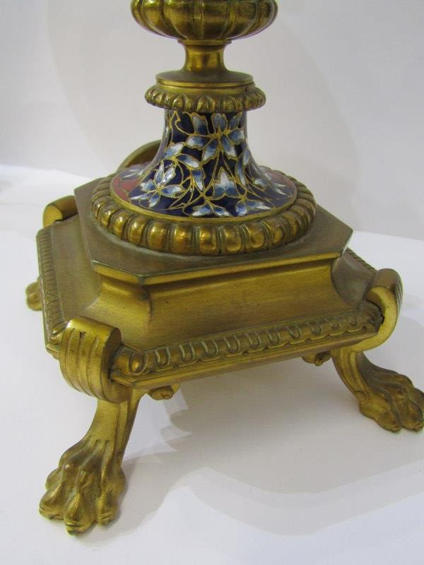 CHAMPLEVE, pair of fine 19th Century European pedestal lidded urn ornaments on claw feet and chimera - Image 6 of 6