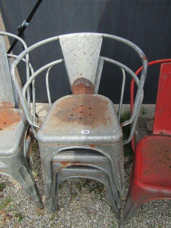 VINTAGE METAL STACKING CHAIRS, 6 assorted galvanised garden chairs - Image 2 of 2