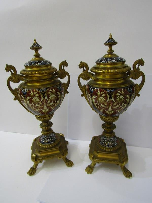 CHAMPLEVE, pair of fine 19th Century European pedestal lidded urn ornaments on claw feet and chimera