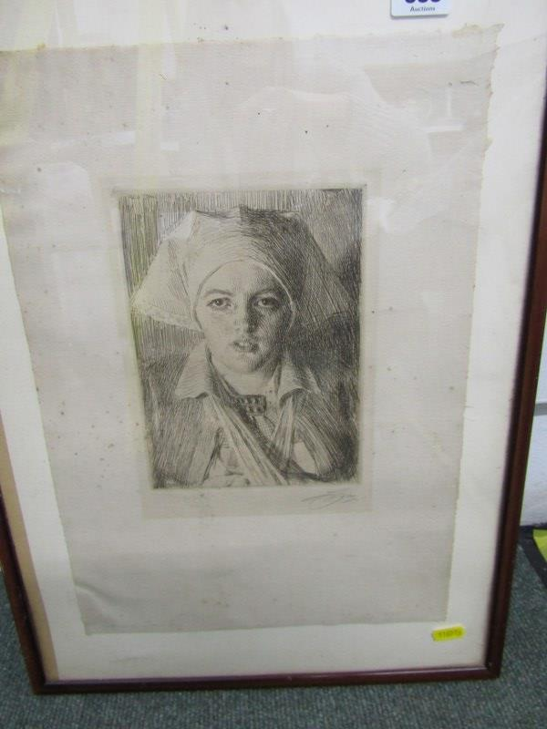 """ANDERS ZORN, pencil signed etching """"Gulli II"""", 8"""" x 5.5"""""""