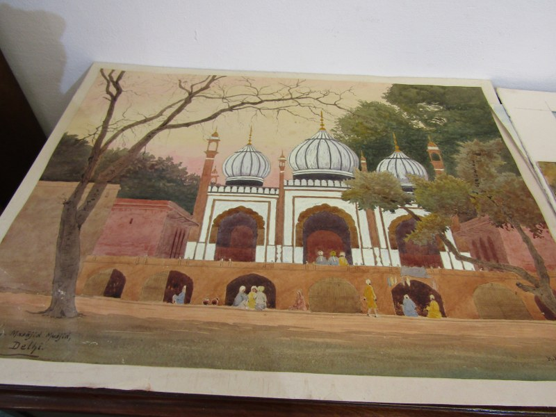 COLONEL H.H. HART, collection of 12 unframed mainly Indian topographical watercolours - Image 4 of 5
