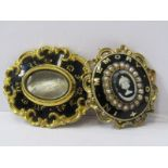 MOURNING JEWELLERY, 2 mourning brooches both yellow metal and black enamel, 1 set with seed pearl, 1