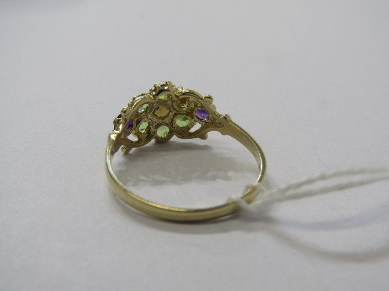 9CT YELLOW GOLD LADIES SUFFREAGETTE STYLE CLUSTER RING, peridot, amethyst & cultured pearl to give - Image 3 of 3