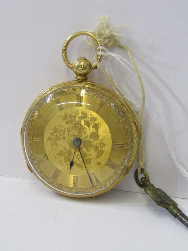 18ct YELLOW GOLD GENTLEMAN'S FOB WATCH, front opener, in a foliate engraved case, key wind, movement