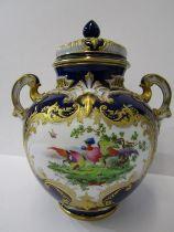 ROYAL WORCESTER, pot pourri vase, gilded Royal Blue ground twin handled and lidded vase, decorated