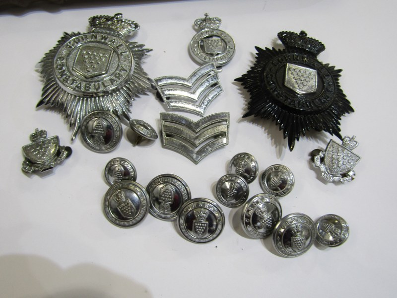 A set of post 1952 Cornwall Constabulary badges including, helmet plates, cap badges, collar badges, - Image 2 of 2