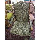 EDWARDIAN OPEN ARMCHAIR, with zebra print upholstery and shaped cabriole legs