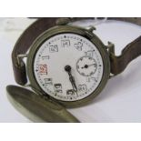 WHITE METAL TRENCH WATCH with flip up Hunter-style cover, watch appears in working condition