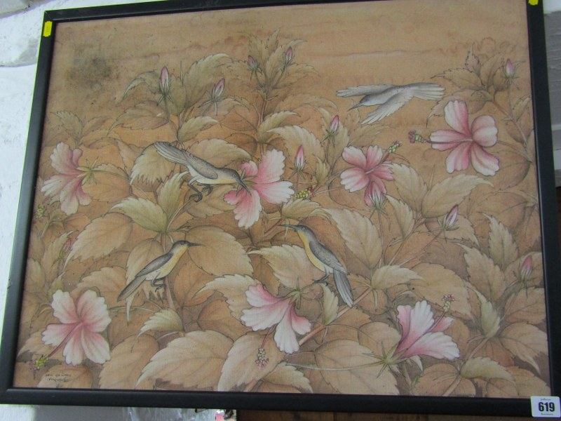 "EASTERN SCHOOL, signed painting on fabric, ""Study of Birds in Blossoming Bush"", 19"" x 25"""