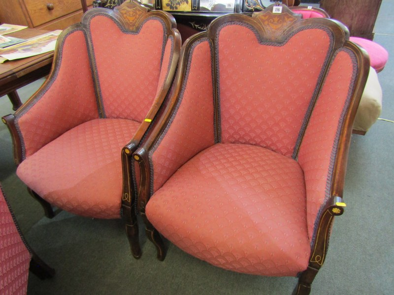 PAIR OF WALNUT MARQUETRY TUB ARMCHAIRS AND MATCHING 2 SEATER SETTEE - Image 3 of 4