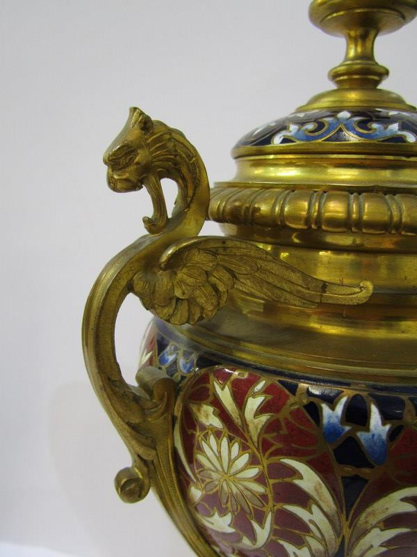 CHAMPLEVE, pair of fine 19th Century European pedestal lidded urn ornaments on claw feet and chimera - Image 4 of 6