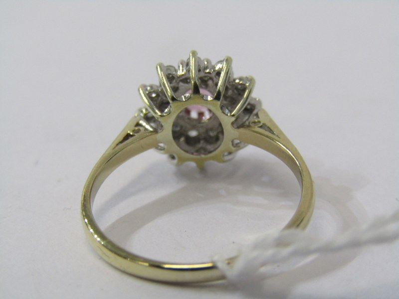 9ct YELLOW GOLD PINK SAPPHIRE & DIAMOND CLUSTER RING, principal oval cut pink sapphire surrounded by - Image 3 of 3