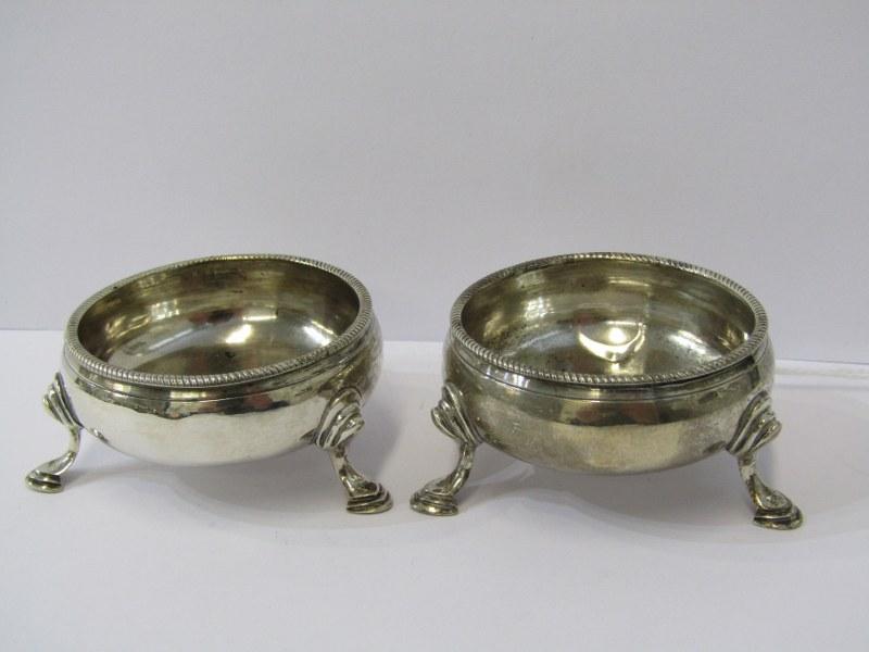 GEORGIAN SILVER SALTS, matched pair of circular silver salts on 3 cusped feet, London HM 1817 &